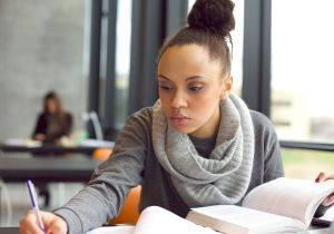 Woman taking a test